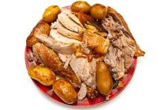供食的被雕刻的土豆切了火鸡 库存图片