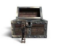 供以人员上升在与被张开的老宝物箱的木梯子 免版税图库摄影