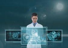 供以人员互动与医疗接口的医生反对与火光的蓝色背景 库存照片