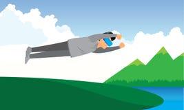 供以人员做虚拟现实飞行的佩带的虚拟现实风镜 免版税库存照片