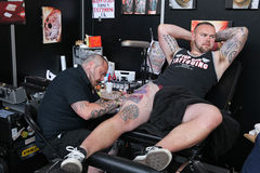 供以人员可及纹身花刺,纹身花刺演播室 库存照片