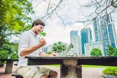 供以人员商人或学生便服的使用膝上型计算机在一个热带公园摩天大楼背景的  穿戴在白色s 免版税库存照片
