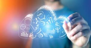 供以人员图画在一朵云彩的企业象在未来派的技术 库存照片
