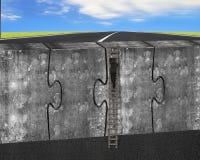 供以人员在四个巨大的难题的上升的梯子连接了混凝土墙 库存图片