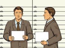 供以人员在警察流行艺术样式传染媒介的被拘捕的照片 免版税图库摄影