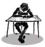供以人员坐在写与他的腿的桌上一封信盘 免版税库存照片