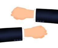 供以人员左的手正确和,衣服袖子 免版税库存图片