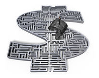 供以人员常设老问号灰色3d金钱迷宫中心 免版税库存照片