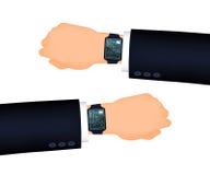 供以人员手正确和左与巧妙的手表 免版税库存图片