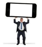 供以人员拿着巨型细胞巧妙的电话w黑屏 库存照片