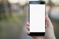 供以人员拿着有白色屏幕的手智能手机户外有春天被弄脏的背景 免版税库存图片