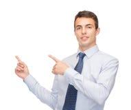 供以人员指向手指某事在虚屏上 免版税库存照片