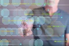 供以人员接触在触摸屏上的一个抽象技术概念 免版税库存照片
