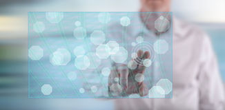 供以人员接触在触摸屏上的一个抽象网络概念 免版税库存照片