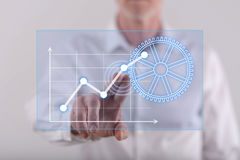 供以人员接触在触摸屏上的一个数字式经营分析概念 免版税库存照片