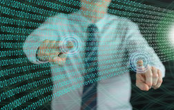 供以人员接触在触摸屏上的一个数字技术概念 库存图片