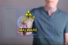 供以人员接触在触摸屏上的一个malware概念 免版税库存照片