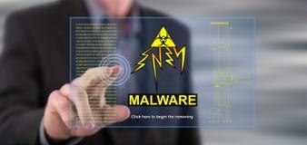 供以人员接触在触摸屏上的一个malware概念 免版税库存图片