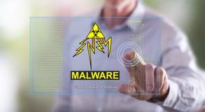 供以人员接触在触摸屏上的一个malware概念 图库摄影