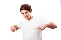 供以人员显示您您的文本的地方他的T恤杉的 图库摄影