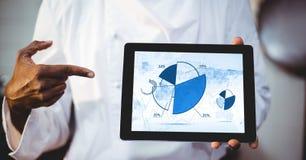 供以人员显示有圆形统计图表的数字式片剂在屏幕上 库存图片