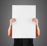 供以人员显示空白的白色大A2纸,盖子面孔 传单介绍 免版税库存图片