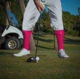 供以人员有桃红色袜子的` s葡萄酒打高尔夫球的成套装备 库存图片