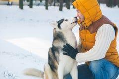 供以人员走与狗与雪的冬时在森林的爱斯基摩狗 免版税库存照片