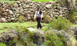 供以人员走在Taquile海岛的喀喀湖秘鲁上 库存照片