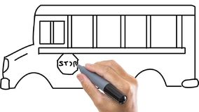 供以人员速写公共汽车/范在whiteboard背景 股票视频