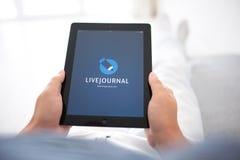 供以人员说谎在沙发和拿着与app LiveJournal的iPad在 库存照片