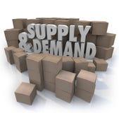 供给和需求3d措辞纸板箱存货 免版税库存图片