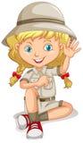 侦察员制服的小女孩 皇族释放例证