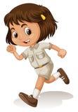 侦察员制服的小女孩 免版税库存图片
