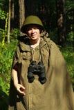侦察员在森林里 免版税图库摄影