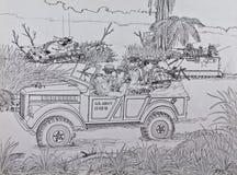 侦察员美国海军陆战队员在越南 免版税库存图片
