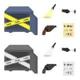 侦探手电阐明脚印,有万能钥匙的犯罪手,在手枪皮套的一把手枪, 库存例证