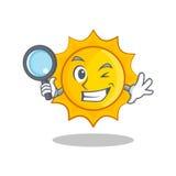 侦探逗人喜爱的太阳字符动画片 向量例证