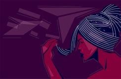 侧视图在抽象背景的妇女面孔 向量例证