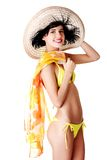 侧视图妇女佩带的游泳衣和夏天帽子 图库摄影