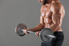 侧视图播种了一个坚强的赤裸上身的男性爱好健美者的图象 库存照片