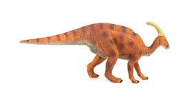 侧视图褐色在白色背景的Parasaurolophus玩具 库存照片