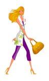 侧视图走的妇女 免版税库存照片
