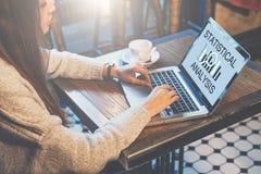 侧视图 坐在咖啡馆在桌上和使用有题字统计分析的年轻女实业家膝上型计算机在屏幕 免版税图库摄影