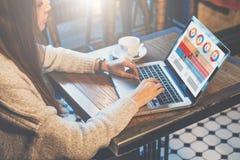 侧视图 坐在咖啡馆在桌上和使用膝上型计算机的年轻女实业家 在书桌上是咖啡 库存图片