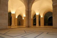 侯赛因Bin塔拉勒国王清真寺在阿曼(在晚上),约旦 库存图片