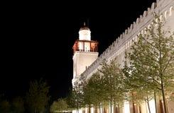 侯赛因Bin塔拉勒国王清真寺在阿曼(在晚上),约旦 图库摄影