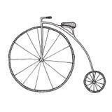 便士极少量剪影  在白色背景隔绝的自行车 库存例证