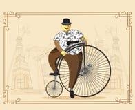 便士极少量自行车的人在老城市背景 传染媒介不适 库存例证