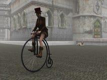 便士极少量自行车的Steampunk女孩在被修补的街道上 向量例证